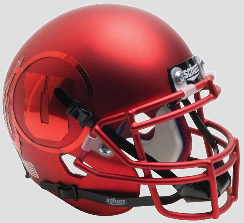 Utah Utes Authentic College XP Football Helmet Schutt B Satin Red with Red DecalB PSM-Powers Sports Memorabilia