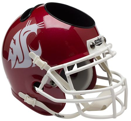 Washington State Cougars Miniature Football Helmet Desk Caddy B Scarlet B PSM-Powers Sports Memorabilia