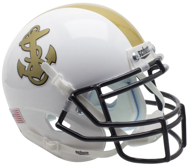 Navy Midshipmen Mini XP Authentic Helmet Schutt B White B PSM-Powers Sports Memorabilia