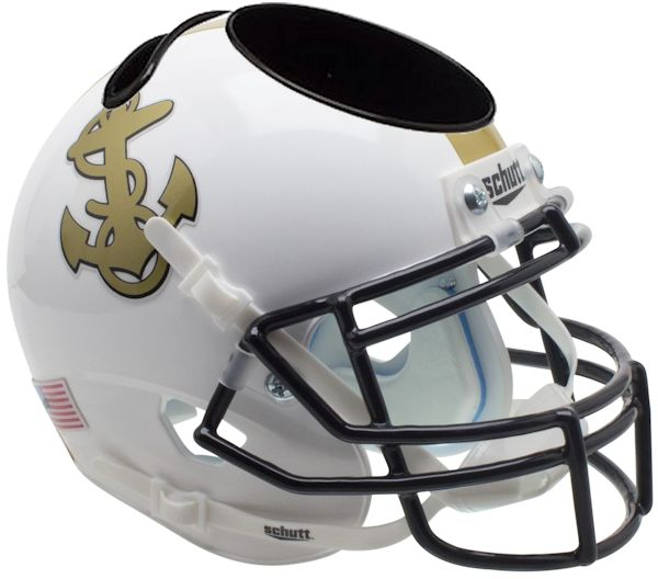 Navy Midshipmen Miniature Football Helmet Desk Caddy B White B PSM-Powers Sports Memorabilia