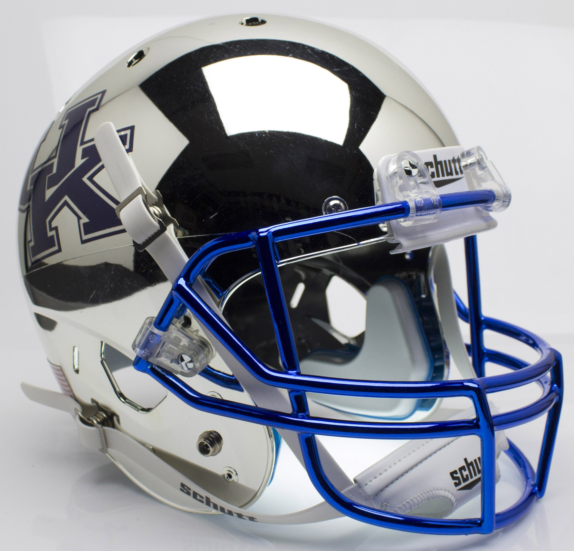 Kentucky Wildcats Full XP Replica Football Helmet Schutt B Chrome Silver B PSM-Powers Sports Memorabilia