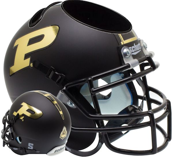 Purdue Boilermakers Miniature Football Helmet Desk Caddy B Matte Black B PSM-Powers Sports Memorabilia