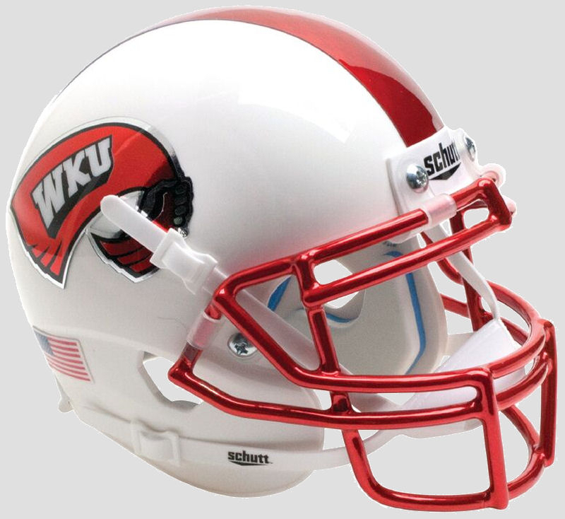 Western Kentucky Hilltoppers Miniature Football Helmet Desk Caddy B White with Chrome Mask B PSM-Powers Sports Memorabilia