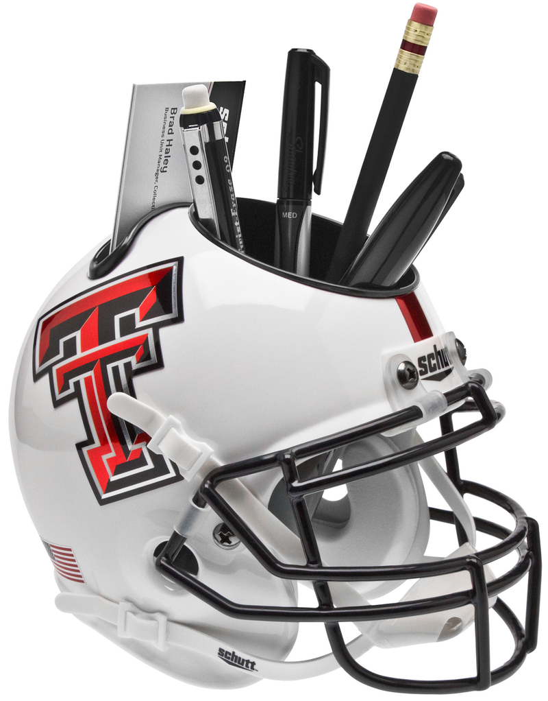 Texas Tech Red Raiders Miniature Football Helmet Desk Caddy B Whte Alt 5 B PSM-Powers Sports Memorabilia