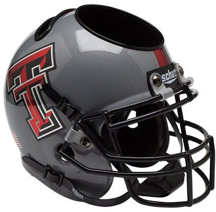 Texas Tech Red Raiders Miniature Football Helmet Desk Caddy B Gray B PSM-Powers Sports Memorabilia