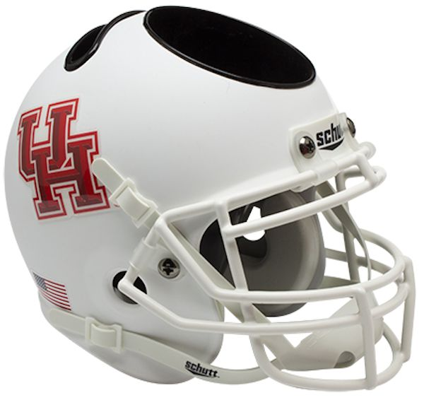 Houston Cougars Miniature Football Helmet Desk Caddy B Matte White B PSM-Powers Sports Memorabilia