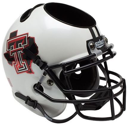 Texas Tech Red Raiders Miniature Football Helmet Desk Caddy B Pride White B PSM-Powers Sports Memorabilia