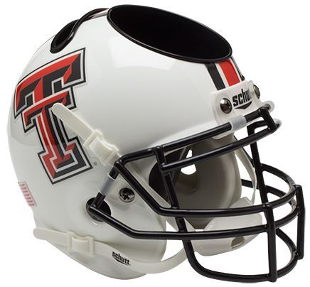 Texas Tech Red Raiders Miniature Football Helmet Desk Caddy B White B PSM-Powers Sports Memorabilia