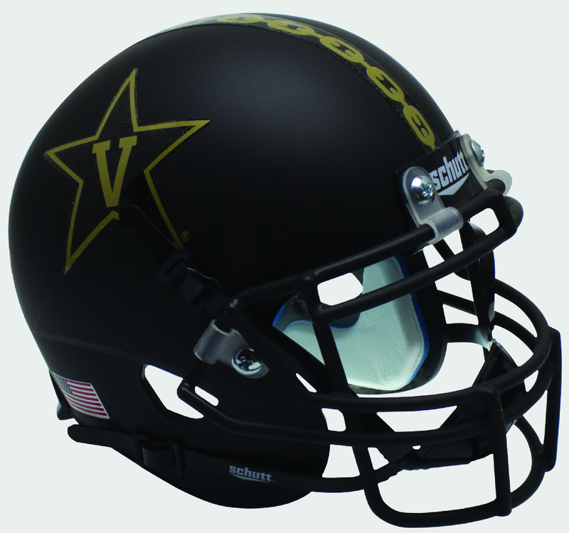 Vanderbilt Commodores Mini XP Authentic Helmet Schutt B Matte Black w Matte MaskB PSM-Powers Sports Memorabilia