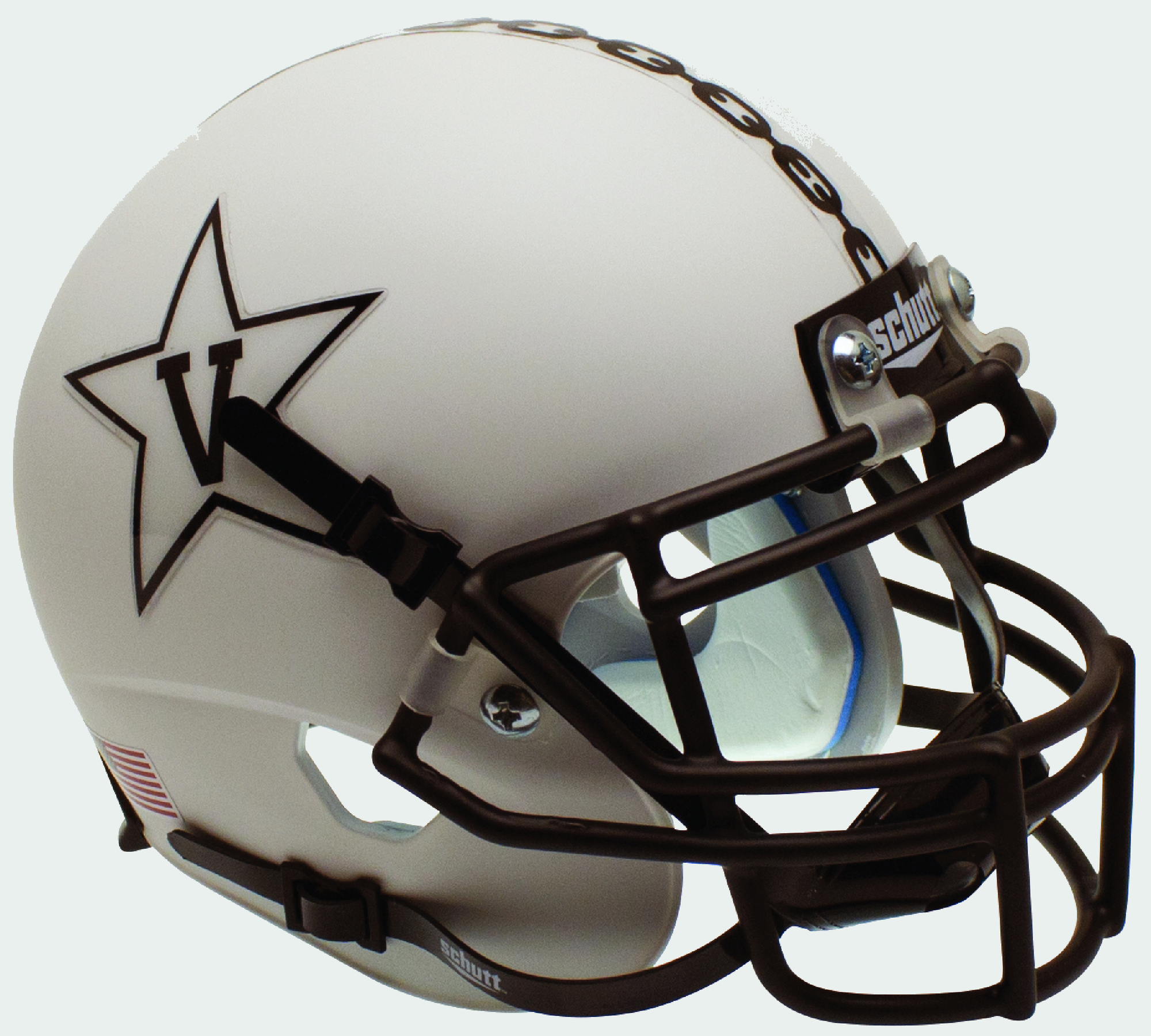 Vanderbilt Commodores Mini XP Authentic Helmet Schutt B Matte White w Matte MaskB PSM-Powers Sports Memorabilia