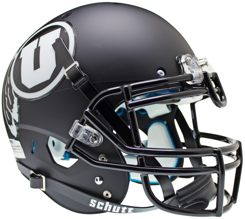 Utah Utes Authentic College XP Football Helmet Schutt B Matte Black w White decalB PSM-Powers Sports Memorabilia