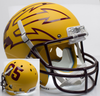Arizona State Sun Devils Full XP Replica Football Helmet Schutt B Matte Gold Large Pitchfork w 85 B PSM-Powers Sports Memorabilia