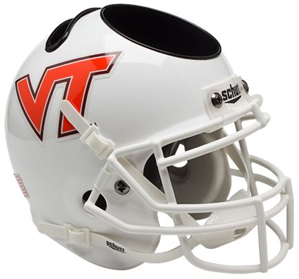 Virginia Tech Hokies Miniature Football Helmet Desk Caddy B White B PSM-Powers Sports Memorabilia