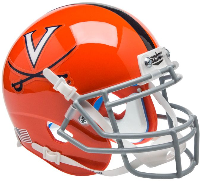 Virginia Cavaliers Mini XP Authentic Helmet Schutt B Orange w Stripe B PSM-Powers Sports Memorabilia