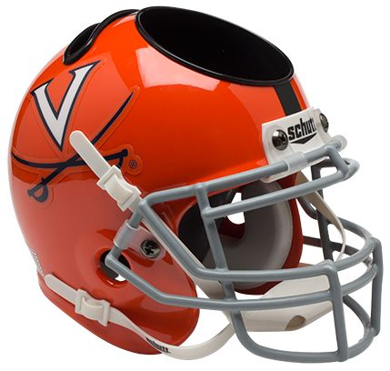 Virginia Cavaliers Miniature Football Helmet Desk Caddy B Orange w Stripe B PSM-Powers Sports Memorabilia