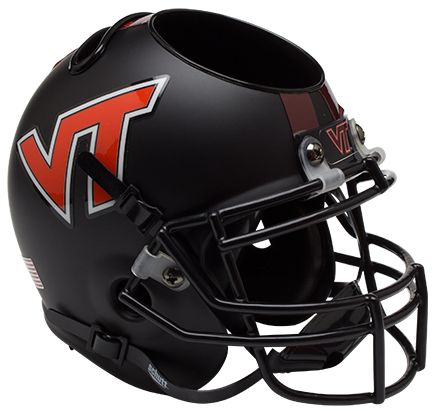 Virginia Tech Hokies Miniature Football Helmet Desk Caddy B Matte Black B PSM-Powers Sports Memorabilia