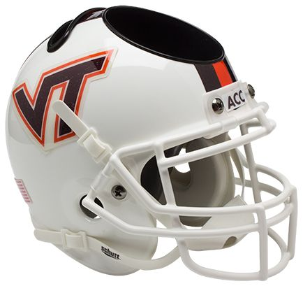 Virginia Tech Hokies Miniature Football Helmet Desk Caddy B White w Stripe B PSM-Powers Sports Memorabilia