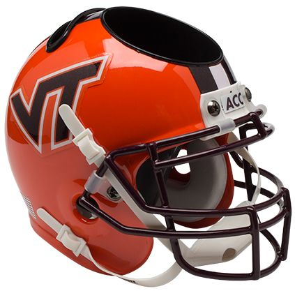 Virginia Tech Hokies Miniature Football Helmet Desk Caddy B Orange wi Stripe B PSM-Powers Sports Memorabilia