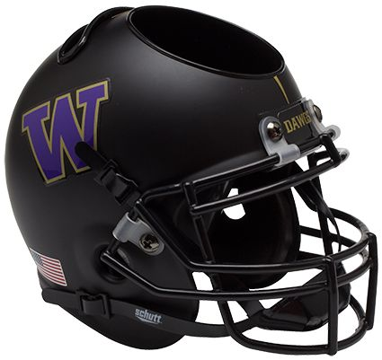 Washington Huskies Miniature Football Helmet Desk Caddy B Matte Black B PSM-Powers Sports Memorabilia