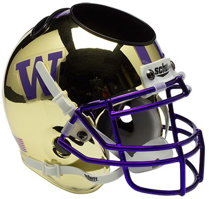 Washington Huskies Miniature Football Helmet Desk Caddy B Chrome Gold B PSM-Powers Sports Memorabilia