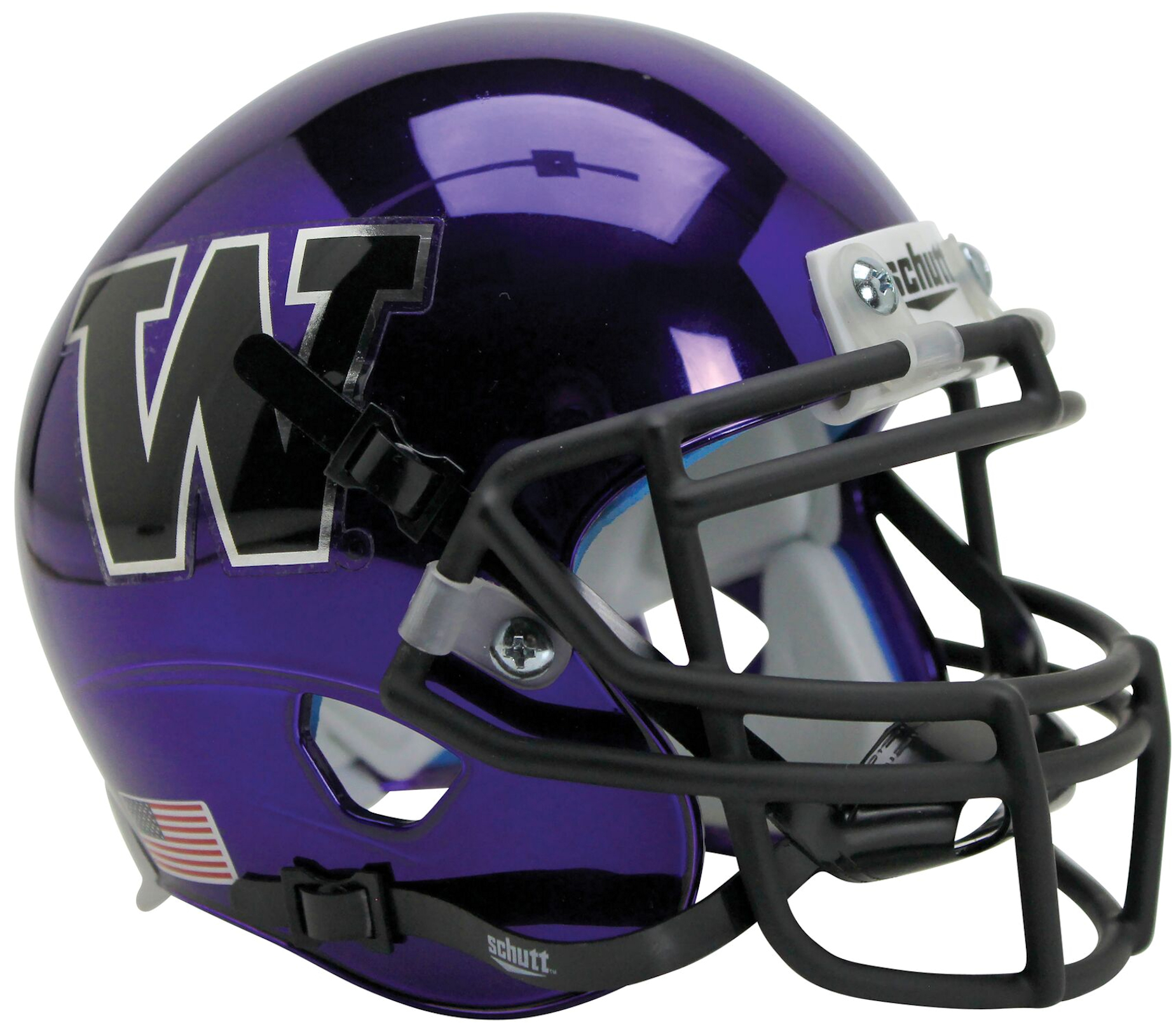 Washington Huskies Full XP Replica Football Helmet Schutt B Chrome Purple B PSM-Powers Sports Memorabilia