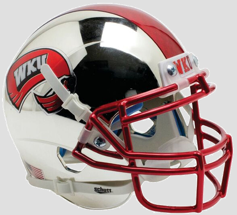 Western Kentucky Hilltoppers Full XP Replica Football Helmet Schutt B Chrome with 2 Tone Stripe B PSM-Powers Sports Memorabilia