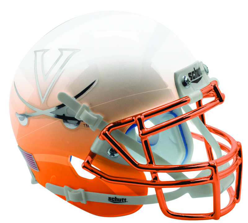 Virginia Cavaliers Full XP Replica Football Helmet Schutt B White Orange Featherhead with Chrome Mask B PSM-Powers Sports Memorabilia