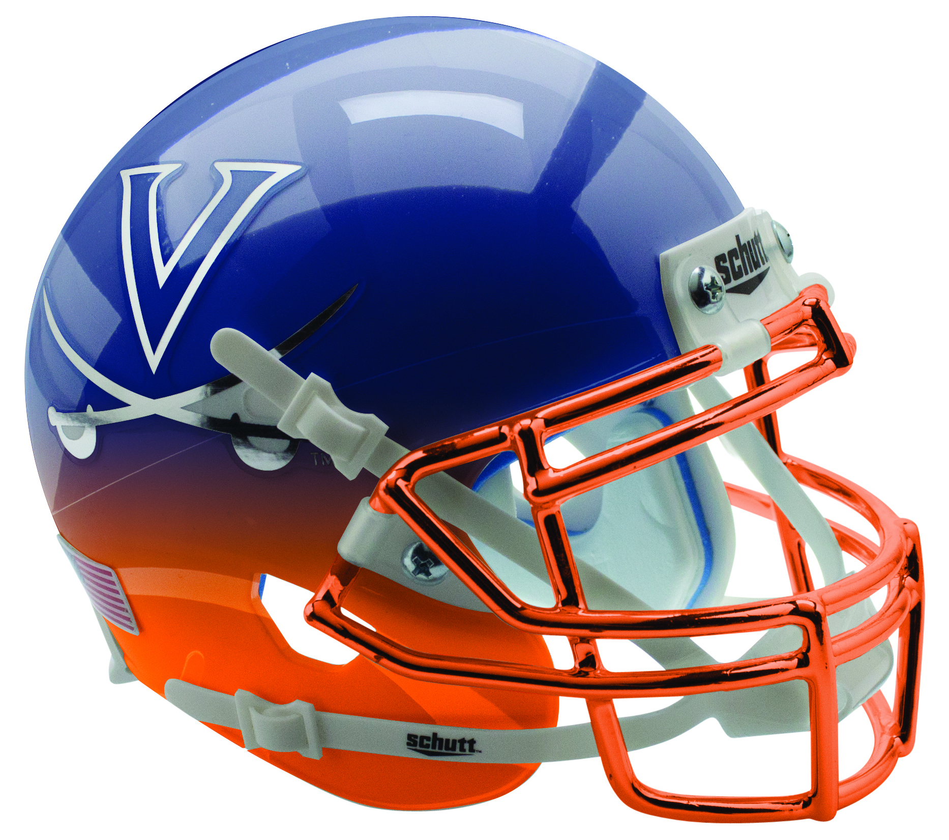 Virginia Cavaliers Mini XP Authentic Helmet Schutt B Navy Orange Featherhead with Chrome Mask B PSM-Powers Sports Memorabilia