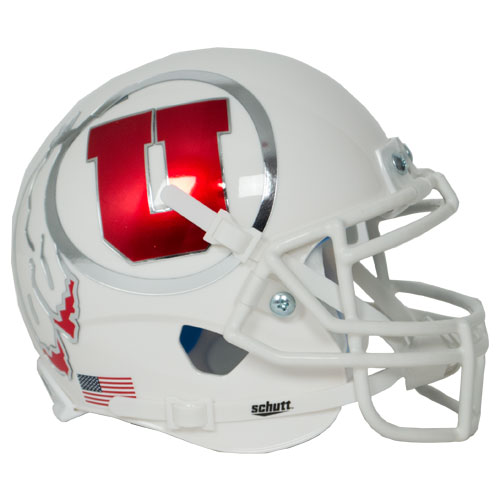 Utah Utes Authentic College XP Football Helmet Schutt B White w Oversized DecalB PSM-Powers Sports Memorabilia