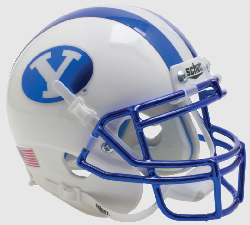 Brigham Young Cougars Authentic College XP Football Helmet Schutt B Chrome Blue Decal and Mask B PSM-Powers Sports Memorabilia