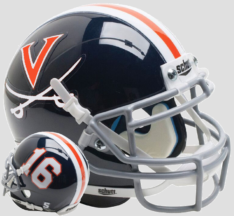 Virginia Cavaliers Mini XP Authentic Helmet Schutt B Blue 16 B PSM-Powers Sports Memorabilia