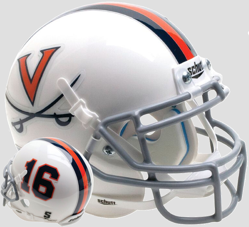 Virginia Cavaliers Mini XP Authentic Helmet Schutt B White 16 B PSM-Powers Sports Memorabilia