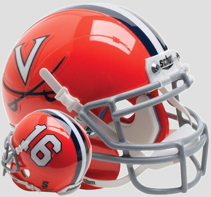 Virginia Cavaliers Mini XP Authentic Helmet Schutt B Orange 16 B PSM-Powers Sports Memorabilia