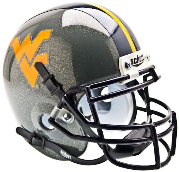 West Virginia Mountaineers Mini XP Authentic Helmet Schutt B Gray Sparkles B PSM-Powers Sports Memorabilia