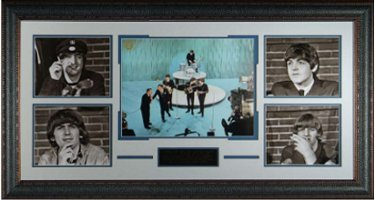 The Beatles 5 Photo 40x23 Leather Framing Ed Sullivan - George Harrison, Paul McCartney, John Lennon, Ringo Starr PSM-Powers Sports Memorabilia