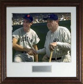 Babe Ruth New York Yankees Vintage 16X20 Photo Premium Leather Framing w/ Ted Williams (Boston Red Sox) PSM-Powers Sports Memorabilia