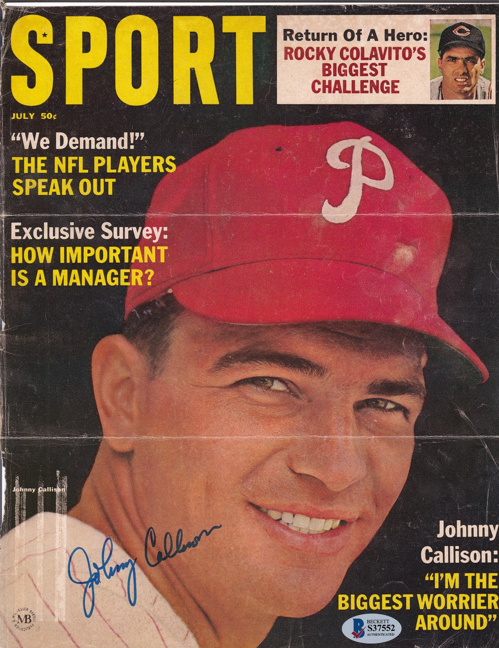 Johnny Callison Philadelphia Phillies Signed Sports Magazine Cover BAS PSM-Powers Sports Memorabilia