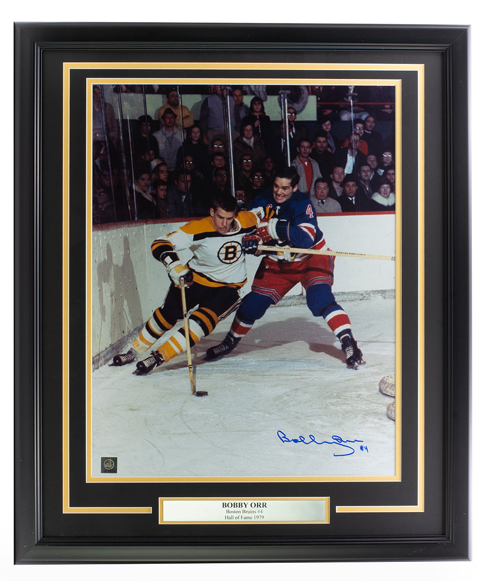 Bobby Orr Signed Framed Boston Bruins 16x20 Puck Control Photo GNR LOA PSM-Powers Sports Memorabilia