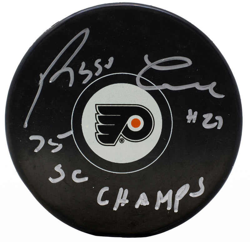 Reggie Leach Signed Philadelphia Flyers Logo Puck 75 SC Champs Inscribed JSA PSM-Powers Sports Memorabilia