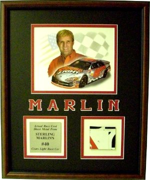 Sterling Marlin unsigned Metal Thunder Framed Race Used Sheet Metal PSM-Powers Sports Memorabilia
