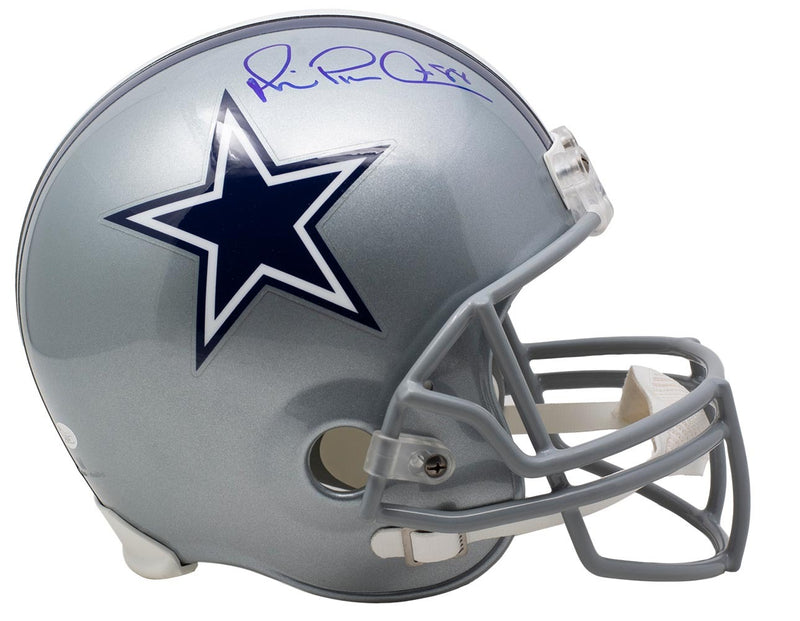 Michael Irvin Dallas Cowboys Signed Full Size Silver Replica Helmet JSA PSM-Powers Sports Memorabilia