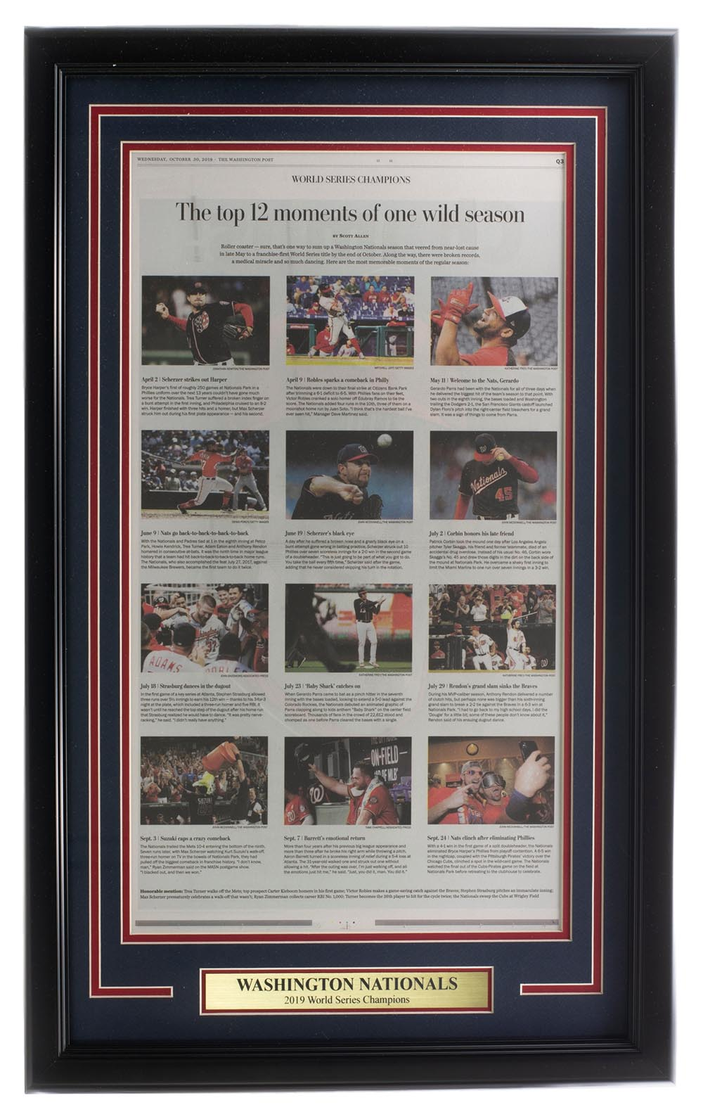 Washington Nationals Framed 18x30 Washington Post Newspaper Top Moments PSM-Powers Sports Memorabilia