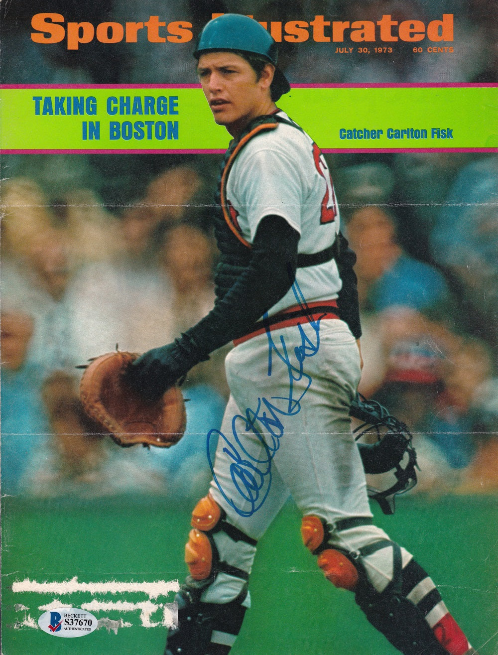 Carlton Fisk Boston Red Sox Signed Sports Illustrated Magazine Cover BAS PSM-Powers Sports Memorabilia