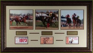 Triple Crown Winners unsigned Horse Racing 3 Photo 22x29 Leather Framed w/ Tickets PSM-Powers Sports Memorabilia