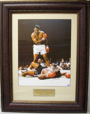 Muhammad Ali unsigned 11X14 Photo Premium Leather Framed over Liston PSM-Powers Sports Memorabilia