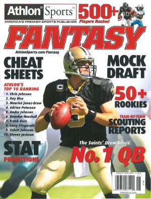 Drew Brees unsigned New Orleans Saints 2010 Athlon Fantasy Football 8x10 Cover PSM-Powers Sports Memorabilia