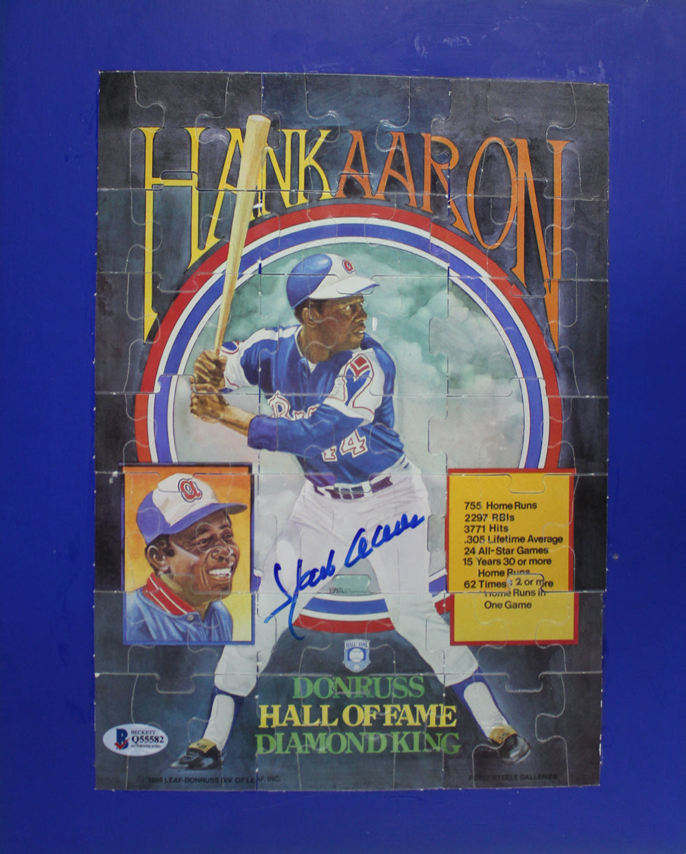 Hank Aaron Autographed/Signed Atlanta Braves 1986 Donruss Puzzle BAS PSM-Powers Sports Memorabilia