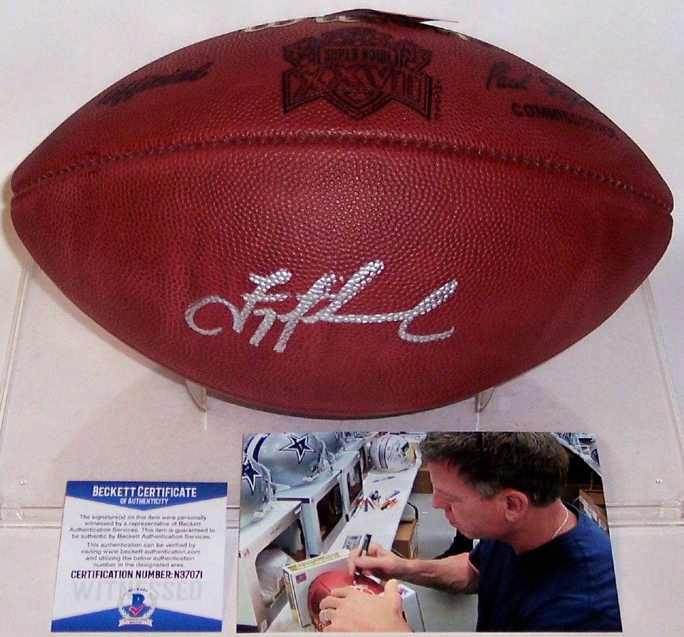 Troy Aikman Autographed Hand Signed Super Bowl 27 XXVII Official Leather NFL Football - BAS Beckett PSM-Powers Sports Memorabilia
