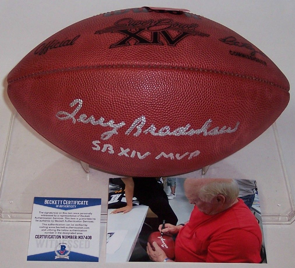 Terry Bradshaw Autographed Hand Signed Super Bowl 14 XIV Official NFL Leather Football - BAS Beckett PSM-Powers Sports Memorabilia