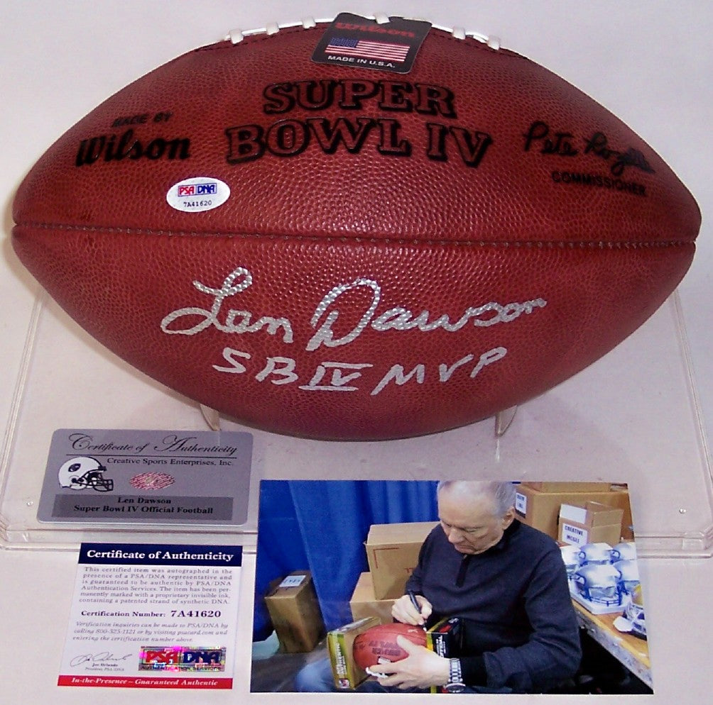 Len Dawson Autographed Hand Signed Super Bowl 4 IV Official NFL Football - PSA/DNA PSM-Powers Sports Memorabilia